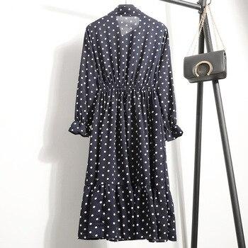 Женское шифоновое платье в горошек, платье с воротником-стойкой и длинным рукавом, с цветочным принтом, лето 2020 4