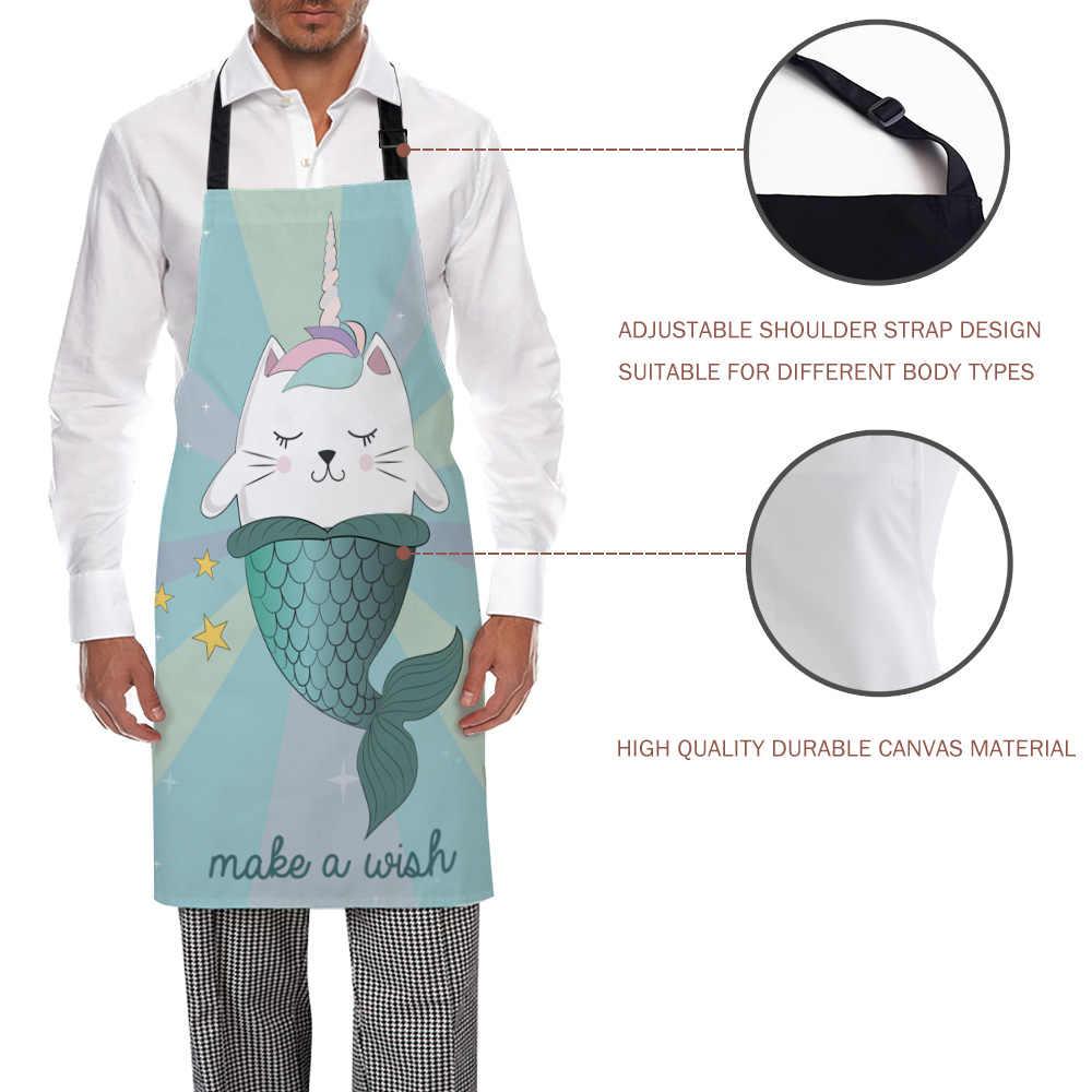 Tophome Tạp Dề Nhà Bếp Mèo Nàng Tiên Cá Làm Chúc In Hình Có Thể Điều Chỉnh Không Tay Vải Tạp Dề cho Nam Nữ Trẻ Em Dụng Cụ Lau Nhà