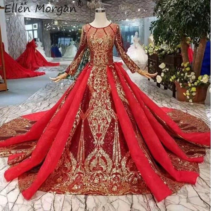 Saudi Arabian Burgurday do vintage Vestidos de Casamento 2019 New Gold Luxury Lace Elegante Manga Comprida Muçulmano Dubai vestido De Baile de Noiva