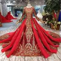 Vestidos de novia Vintage de Burgurday de Arabia Saudita 2019 nuevo de lujo de encaje dorado elegante de manga larga musulmán Dubai vestido de baile de novia