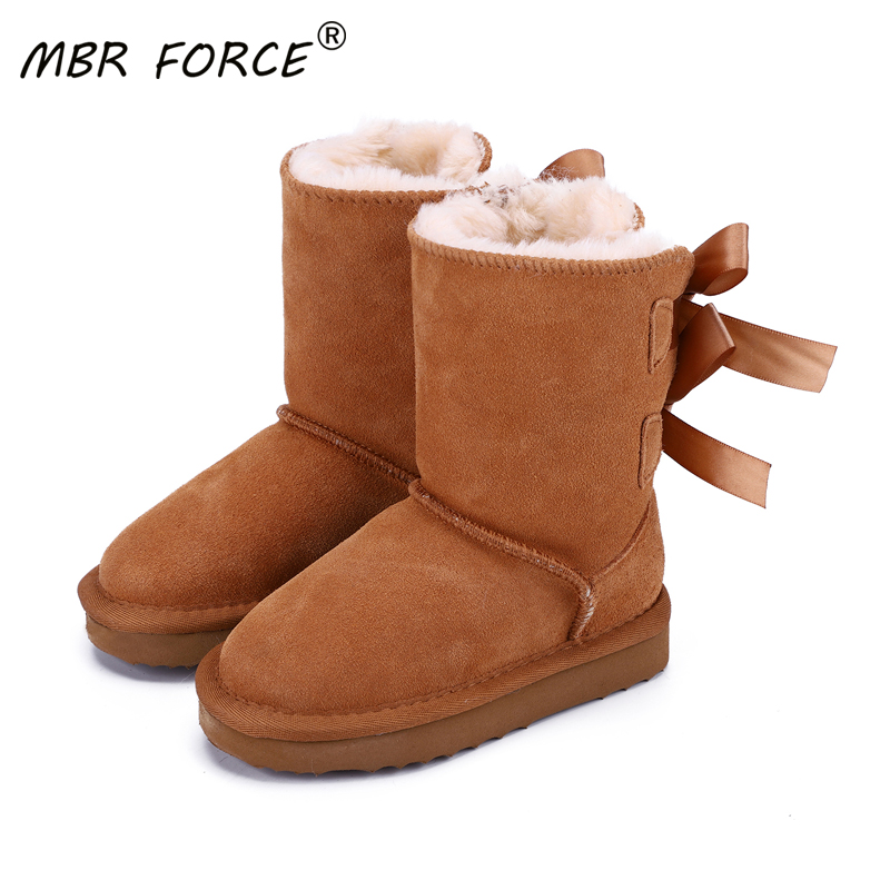 MBR FORCE 2020 High Quality Children Winter Snow Boots Genuine Cowhide Leather Bowknots Snow Boots Boys Girls Warm Ankle Boots