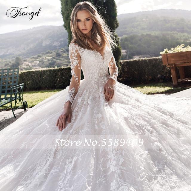 Traugel Scoop A Line Lace Wedding Dresses Elegant Applique Long Sleeve Button Bride Dress Cathedral Train Bridal Gown Plus Size 3