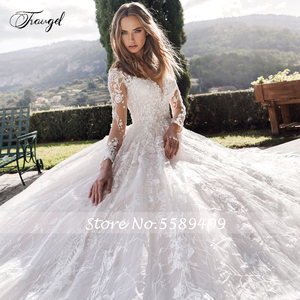 Image 3 - Traugel סקופ קו שמלות כלה אלגנטי Applique ארוך שרוול כפתור הכלה שמלת קתדרלת רכבת כלה שמלה בתוספת גודל