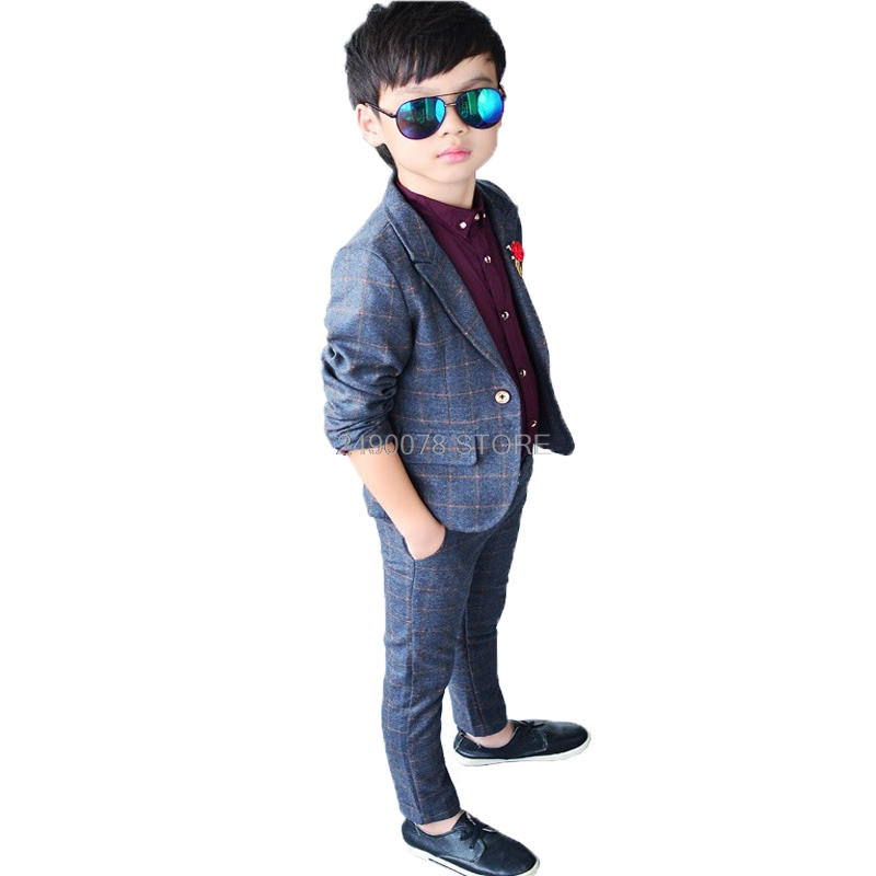 2020 Boys blazer Jacket +Pants 2Pcs suit School Kids beautiful slim Suit Child Wedding Birthday Party wear set 2-10 year 1