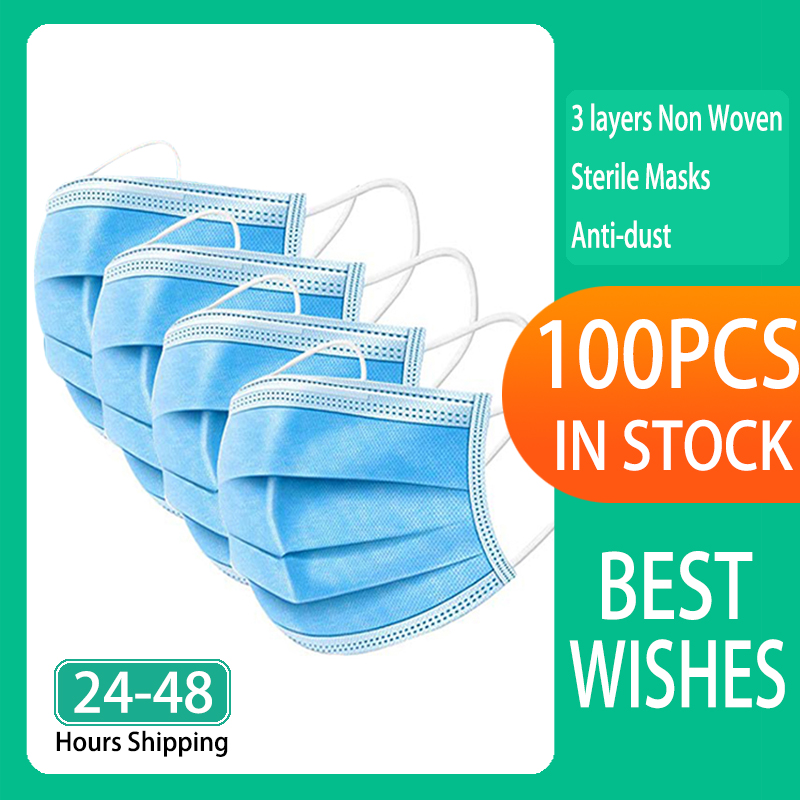 100pcs Face Mouth Protective Mask Disposable Protect 3 Layers Filter Dustproof Earloop Non Woven Mouth Masks 48 Hours Shipping