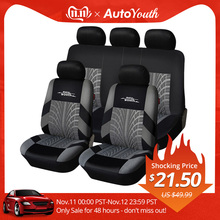 AUTOYOUTH Car-Seat-Covers-Set Universal Brand Styling Fit with Tire-Track-Detail Embroidery