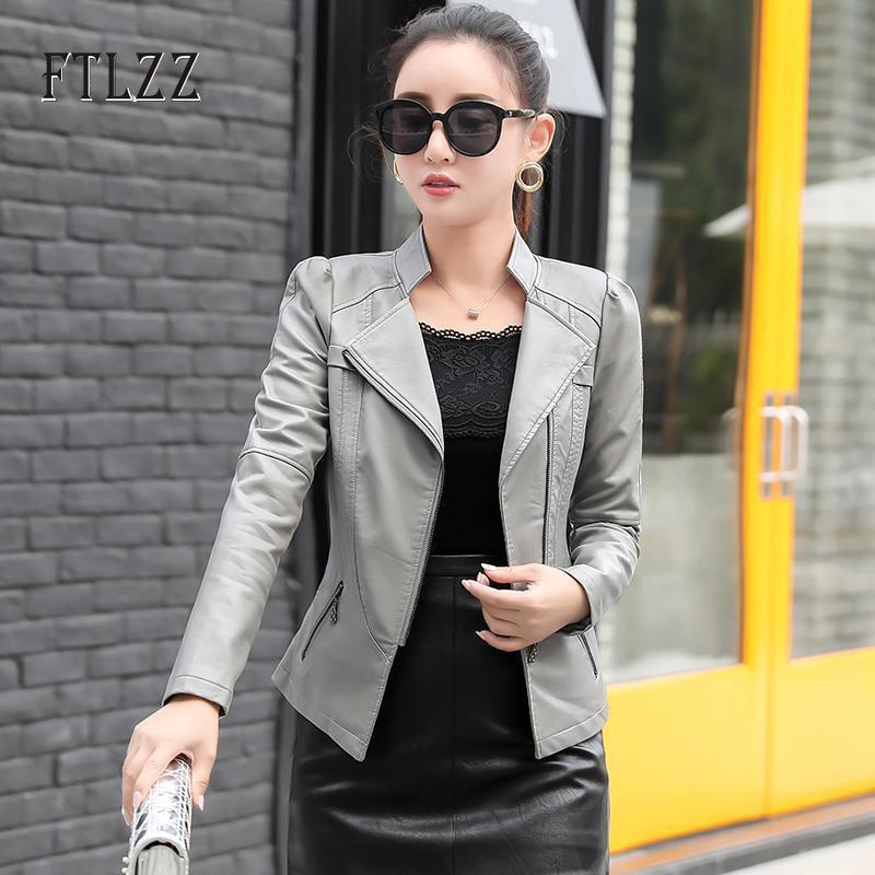 New women biker jackets 2019 spring autumn slim long sleeved zipper moto style black coats ladies plus size faux leather jackets