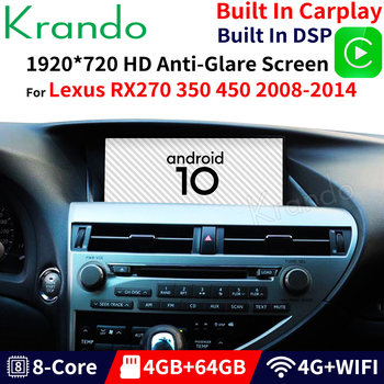 Krando Android 10.0 4G 64G 12.3'' Gps Navigation Car Radio Multimedia Player For Lexus RX RX270 RX350 RX450 RX200T RX450H image