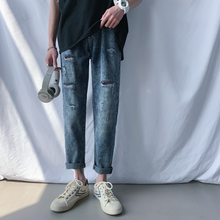 Straight Jeans Men's Fashion Washed Casual Retro Ripped Men Streetwear Wild Hip Hop Loose Hole Denim Trousers Mens M-2XL