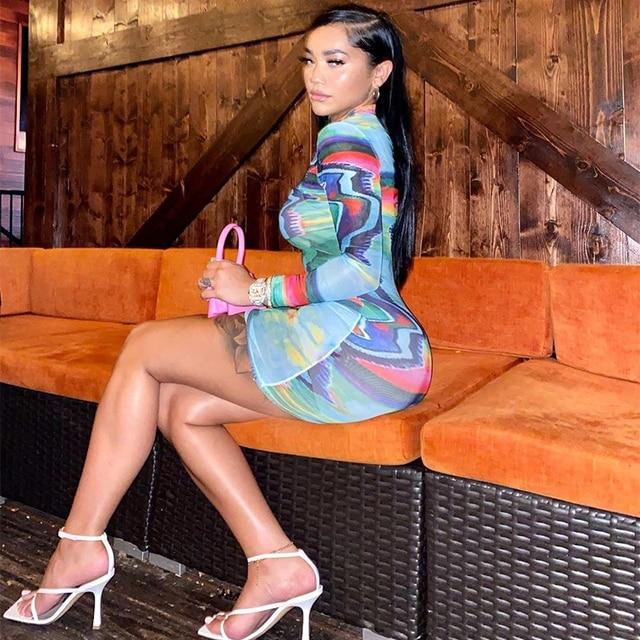Kliou Tie Dye Colorful Mesh See Through Print Mini Dress Women Turtleneck Long Sleeve Skinny Bodycon Casual Streetwear Clubwear 3