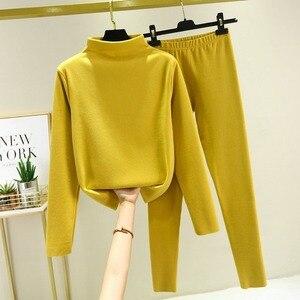 Two Piece Set Women Knit Sport Suits Thick Warm Turtleneck Women Sweater + Drawstring Harem Pants Winter Jogging Outfits