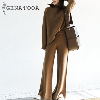 Genayooa Cashmere Two Piece Set Top And Pants 2020 Winter Korean Womens Tracksuit Set Korean Casual 2 Piece Sets Womens Outfits 1