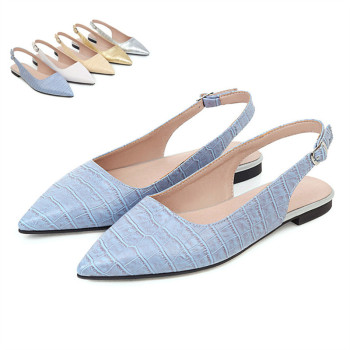 Flats Shoes Big Size 43 Spring Summer Woman Sexy Pointed Toe Buckle Slingback Women Sandals
