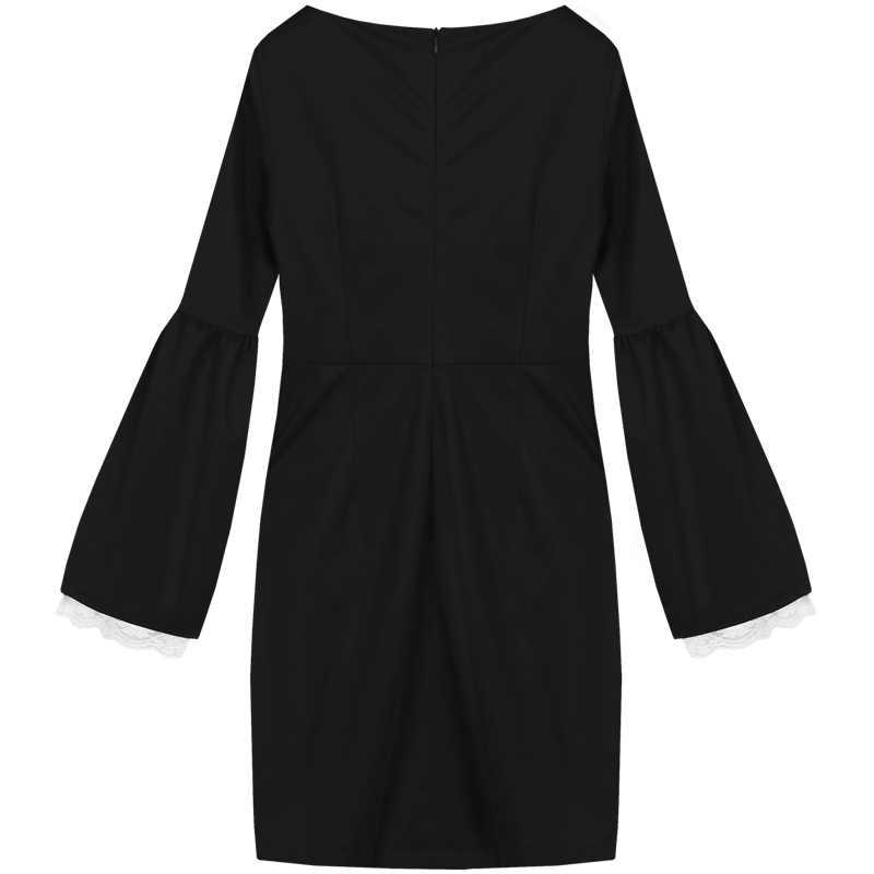 YIGELILA женское черное облегающее платье с круглым вырезом и кружевным Расклешенным рукавом, облегающее платье выше колена 688700