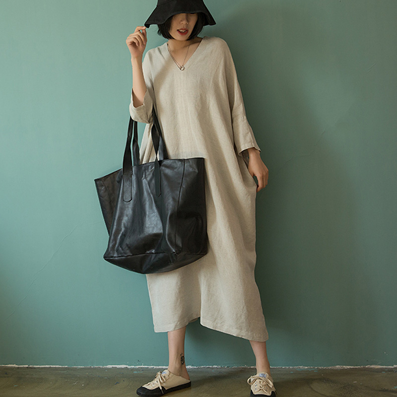 2019 Femmes Printemps été Robe Vintage À Col En V grande taille Lâche manches Chauve-Souris Robe En Lin décontracté Solide Longue Robe