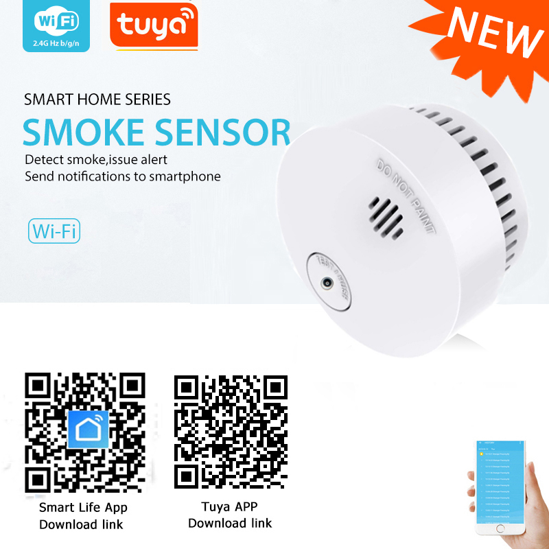 WiFi Smoke Detector Tuya Smart Life APP Fire Detector Smoke Sensor Security Detector Include Battery