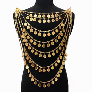 Image 5 - Ethnic Costume Jewelry Necklace Long Chain Beads Necklace Gold Pendent Necklace big size algeria wedding jewelry