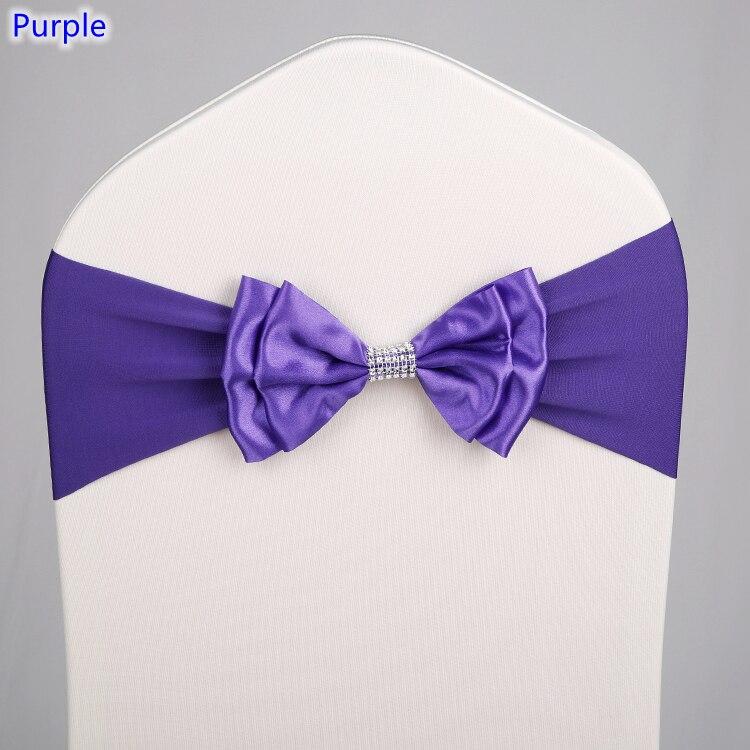 Purple Colour Satin Chair Sash Spandex Chair Sash Bow Tie Lycra Fit All Chairs Wedding Banquet Hotel Party Decoration