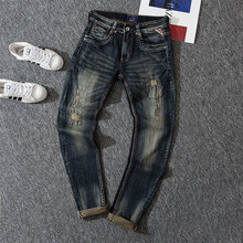 2020 New Fashion Mens Jeans High Quality Nostalgia Wash Slim Fit Denim Ripped For Men Brand Streetwear Biker