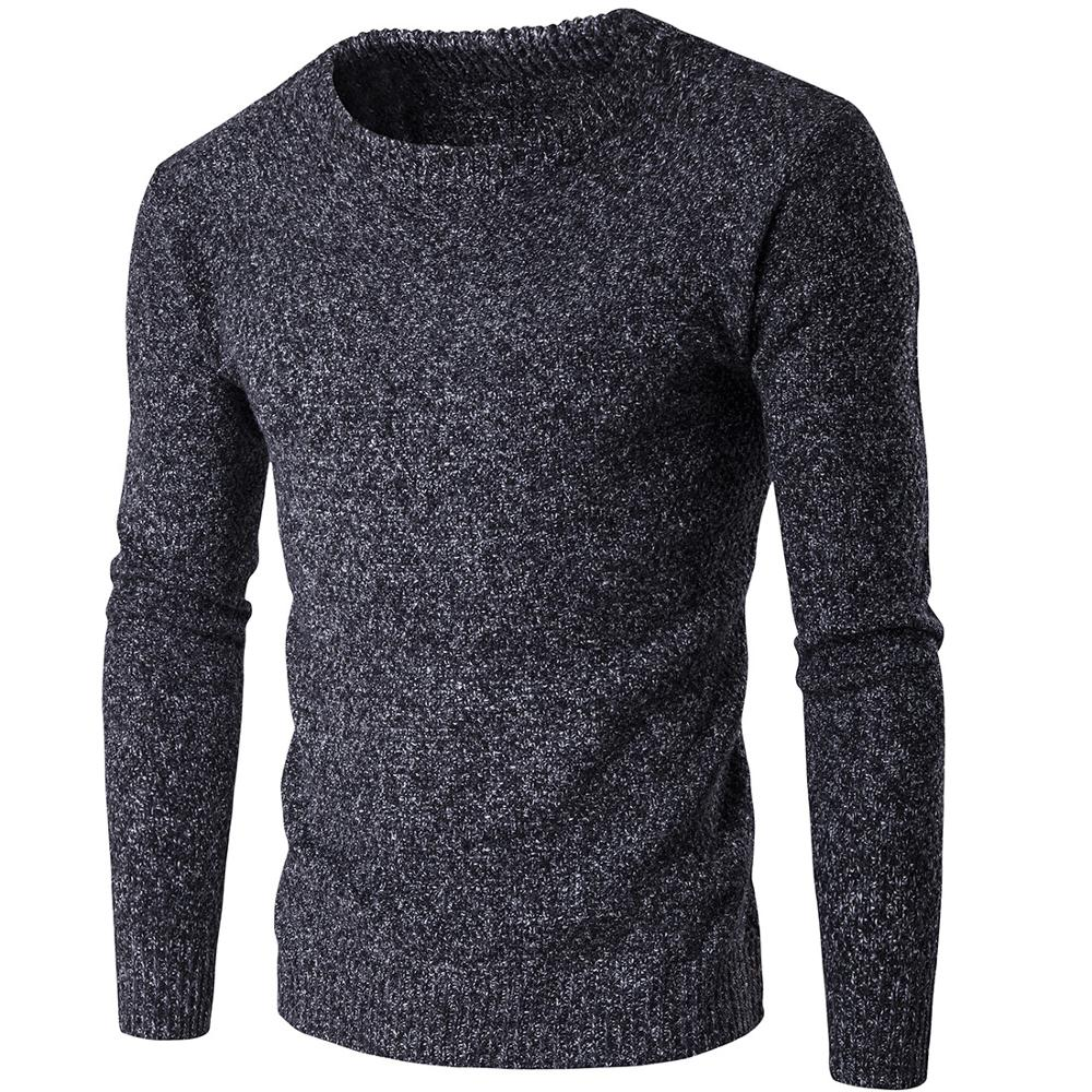 Men Winter Sweater  Solid Color Warm Casual Knitted Pullover Sweaters