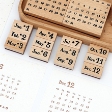 Vintage Wooden Perpetual Calendar Date Stamp Weekly Monthly Daily Notebook Journal Stamp for Diary Book Scrapbooking Decorative