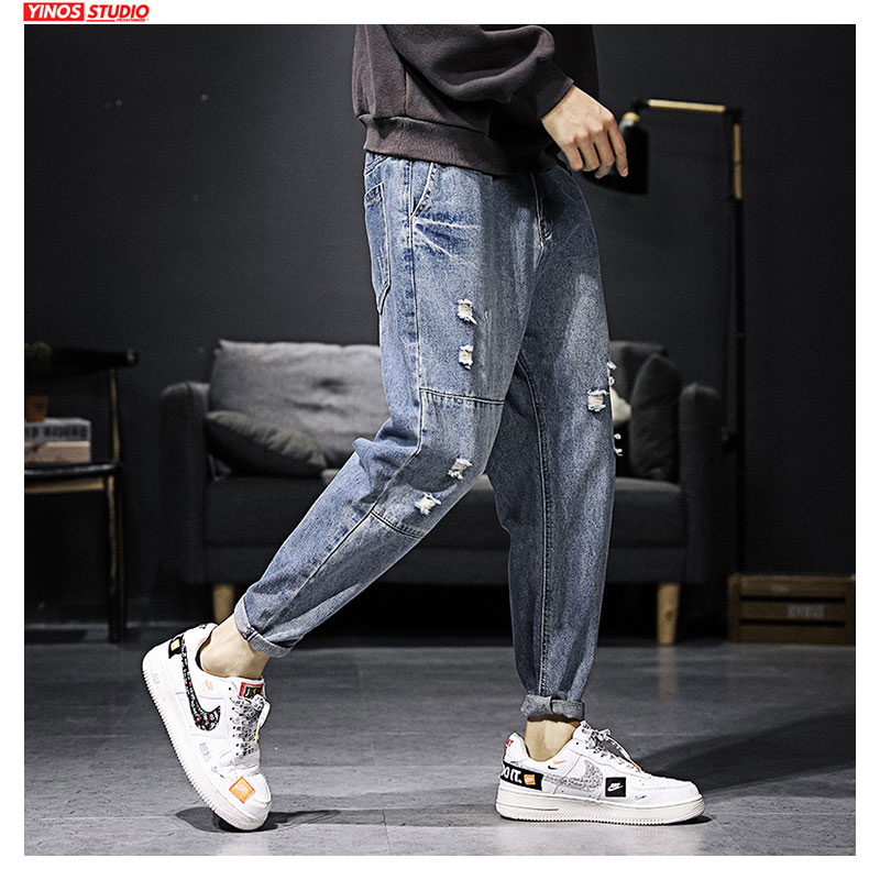 Dropshipping Mens Pants Male Distressed Jeans Spring Mens Streetwear Cargo Pocket Denmin Pants 2020 Japanese Ripped Jeans
