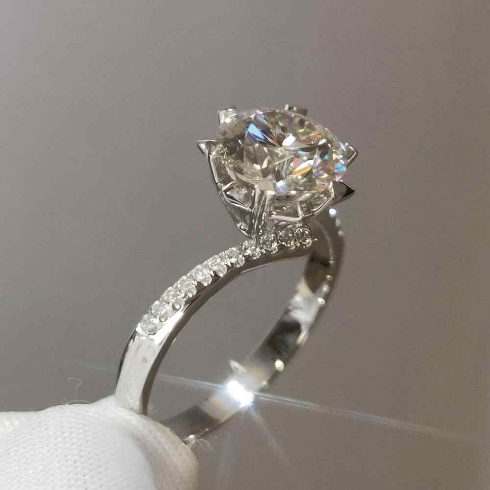 เพชร D สี 1 กะรัต Moissanite แหวน 925 เงิน 18K สีขาวทองชุบ Brilliant ตัดเอวเกล็ดหิมะแหวนอัญมณี
