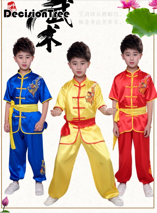 2019 Chinese Wushu Uniform Kungfu Suit Kids Martial Arts Stage Performance Costume Set For Kid Kids Wing Chun Embroidery Dragon
