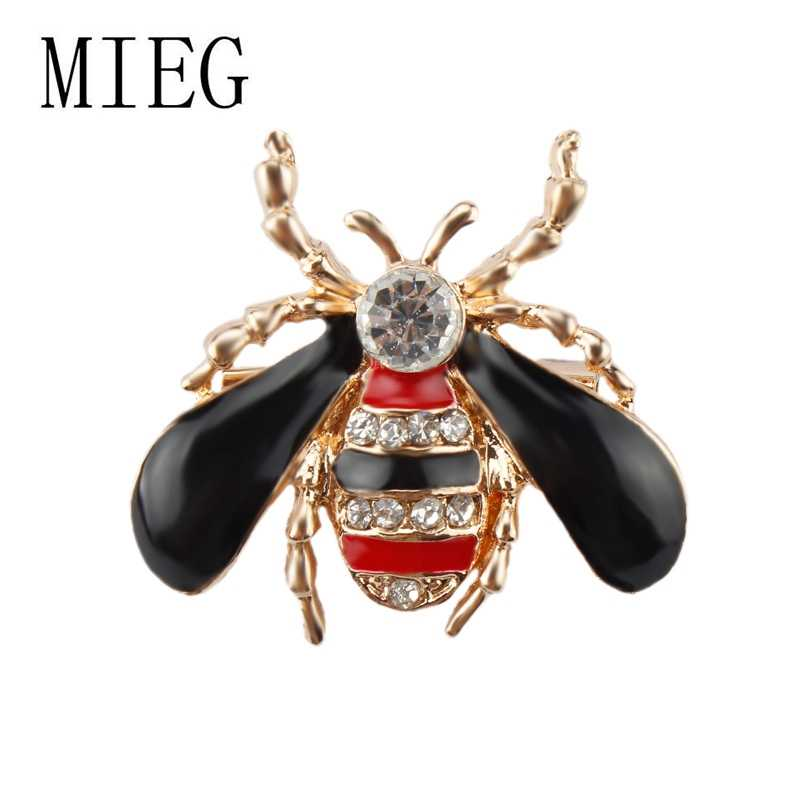 Mieg Merek Hitam Wing Enamel dan Kristal Lebah Lucu Bros Pin untuk Topi Syal Pakaian Aksesoris