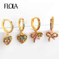 Pendientes de arco gótico FLOLA arcoiris 24k pendientes de corazón de oro pendiente circonita arcoiris Huggie joyería CZ pendientes ersq71