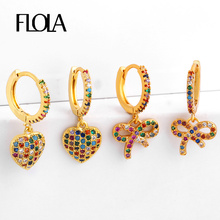 FLOLA Gothic Bow-knot Earrings Rainbow 24k Gold Heart pendiente circonita arcoiris Huggie Jewelry CZ earrings ersq71
