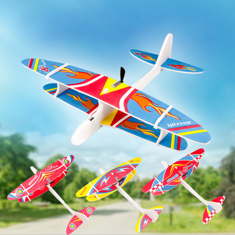 2019 DIY Foam Electric Airplane Hand Throwing Airplane Durable Capacitor Glider Plane Model Educational Toy For Children Gifts