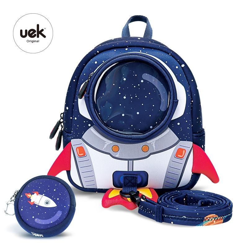 Uek Kids Shoulder Bags Baby Lightweight Rocket Backpack School Original Waterproof Blue Branded Outdoor Travel Bag Boy And Gril