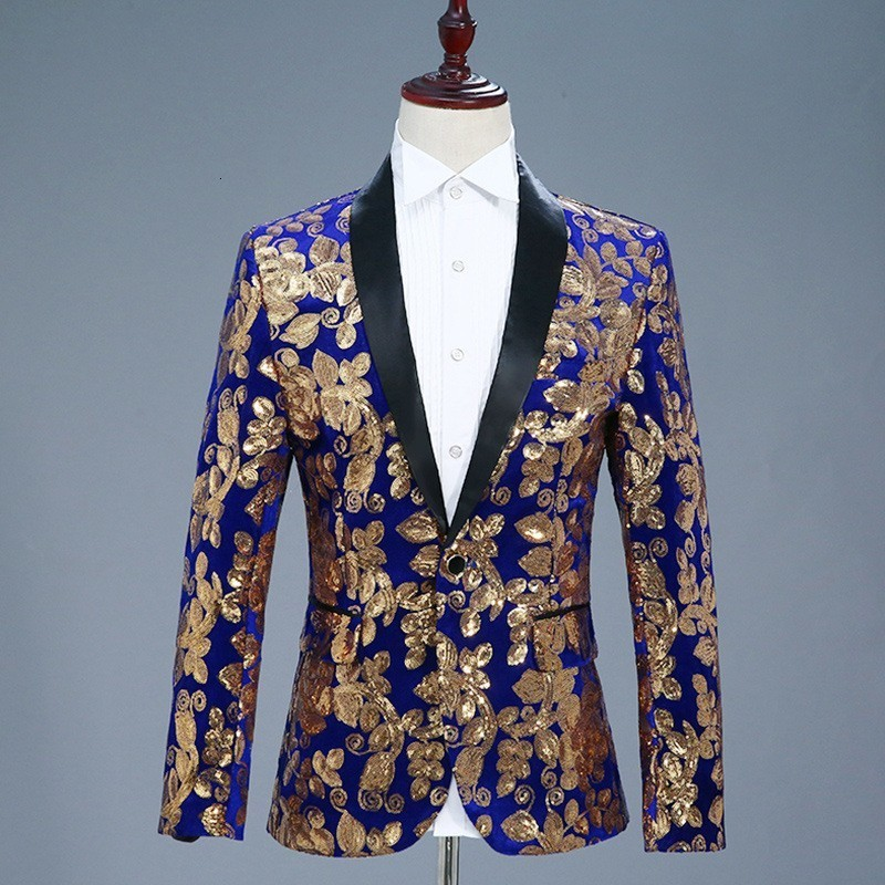 2020 New Mens Slim Fit Sequins Embroidery Blazer Jacket Velvet Formal Dress Suit Shawl Collar Single Botton DJ Show Blazer Coat