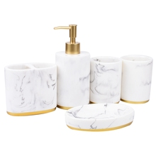 Bathroom Accessories Set, 5 Pieces Bath Ensemble, Bath Set Collection Marble Pattern Soap Dispenser Pump, Toothbrush Holder, Soa