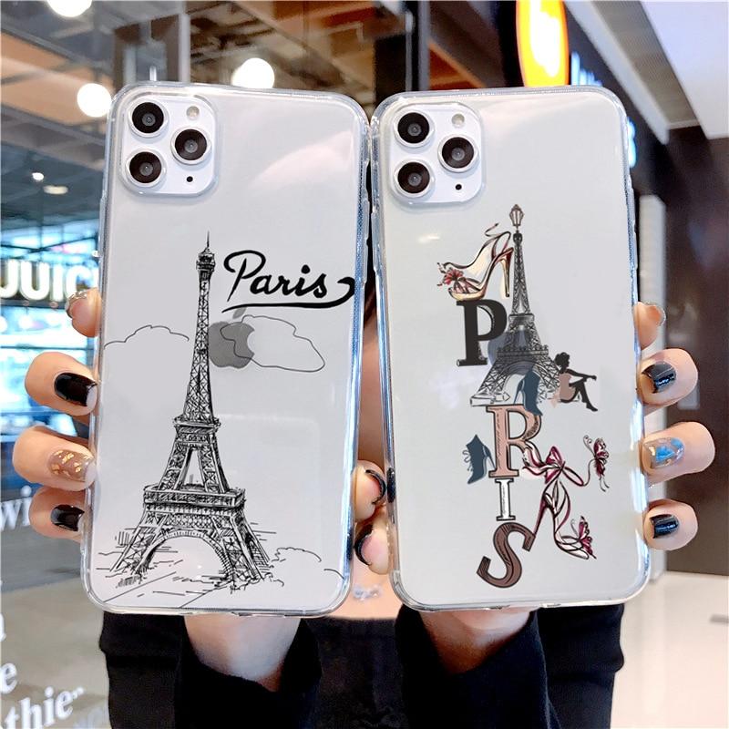 Чехол для iPhone 12 Pro Max Mini Eiffel, мягкий чехол из ТПУ для iPhone 11 7 8 Plus Xs Xr Paris Vogue girl, Роскошный прозрачный силиконовый чехол для телефона