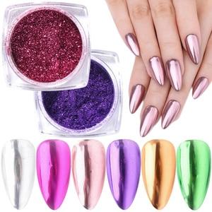 0.5g Nail Mirror Glitter Dipping Powder Metallic Colorful Pigment Dust Chrome Flakes Nail Art Decoration Manicure TRMCB01-24