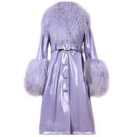 YOLOAgain Plus Größe Frauen Echtpelz Kragen Echtem Patent Leder Graben Mantel Lange Windschutz