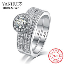 2Pcs/set Real Original 925 Sterling Silver Rings Set Gift Wedding Jewelry Zircon CZ Engagement Rings For Women Full Size HKR007(China)