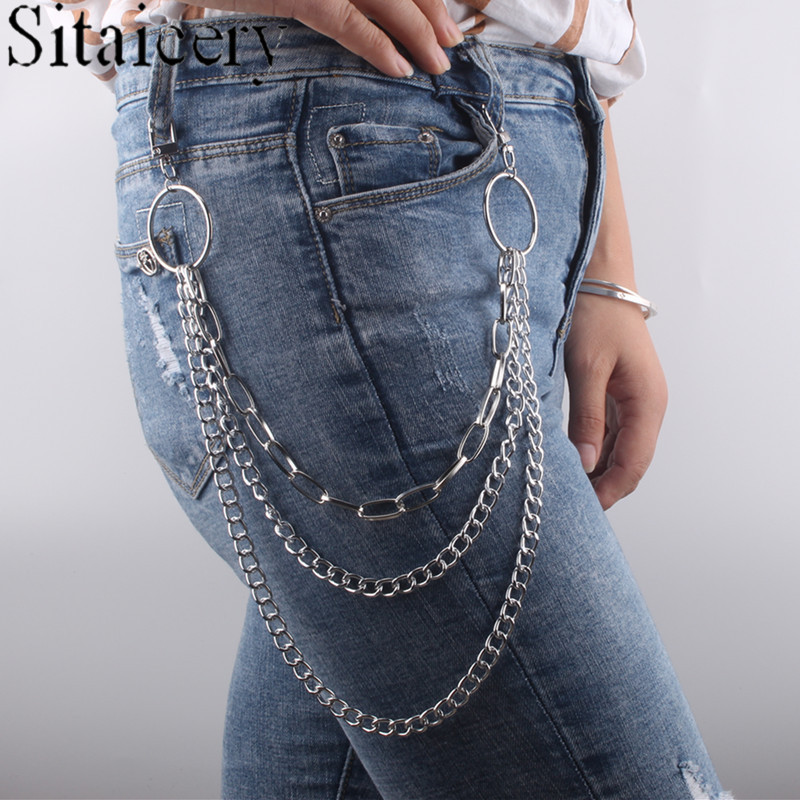 Punk Street thick body chain simple multi-layer geometric waist chain Pant Jean Keychain Ring Clip Men's Hip Hop Jewelry