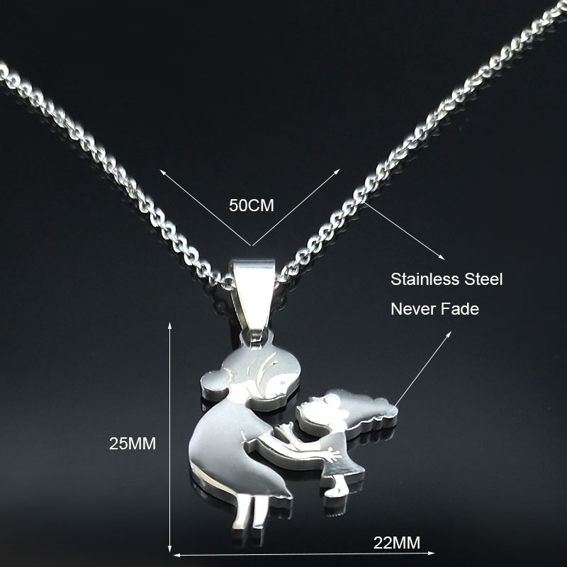 Mom Daughter Stainless Steel Chain Necklace Silver Color Necklaces Pendants Jewelry mujer Mother's Day Christmas Gift N539S01 12