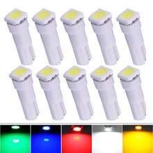 10PCS T5 LED 17 37 73 74 SMD 5050 Auto LED Lamp for Car Dashboard Instrument Wedge Light Bulb 12V White Blue Red Yellow Green