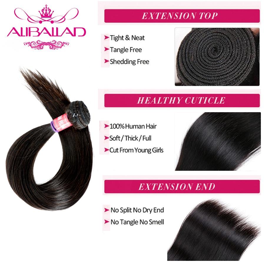 Aliballad бразильские человеческие волосы плетение прямые волосы 3 пучка с фронтальным закрытием Remy 13x4 дюймов Кружева Фронтальные с пучками - 4