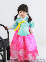 Children Korean Girl Hanbok Dress Costume Ethnic Dance Traditional Long Sleeve Cosplay Tailored Family Matching Clothes