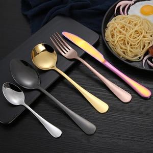 "Image 3 - 16PCS כלי אוכל סט סכו""ם נירוסטה מזלג כפית סקופ סכין Dishware סט מטבח כלי שולחן מטבח מנגל כלי"