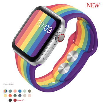 Sport Silicone Strap For Apple Watch band 38mm 42mm iWatch 4 band 44mm 40mm belt Bracelet correa Apple watch 5 4 3 2 Accessories
