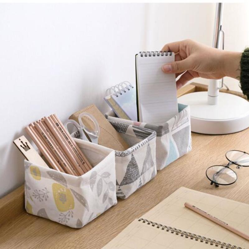 Image 2 - Foldable Sundries Storage basket Cute Printing Cosmetics Container Multifunction Cotton Linen Storage Basket Desktop organizer-in Storage Baskets from Home & Garden