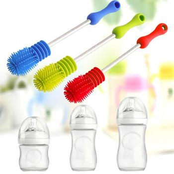 2019 nuevo para la limpieza de la botella de bebé cepillo rotatorio mango largo fregando cepillo de la alimentación-botella