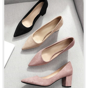 Image 4 - 2020 Shoes for Women Slip Ons Square High Heels Office Lady Flock Pointed Toe Sexy Wedding Heeled Solid Black Heels Woman Pumps