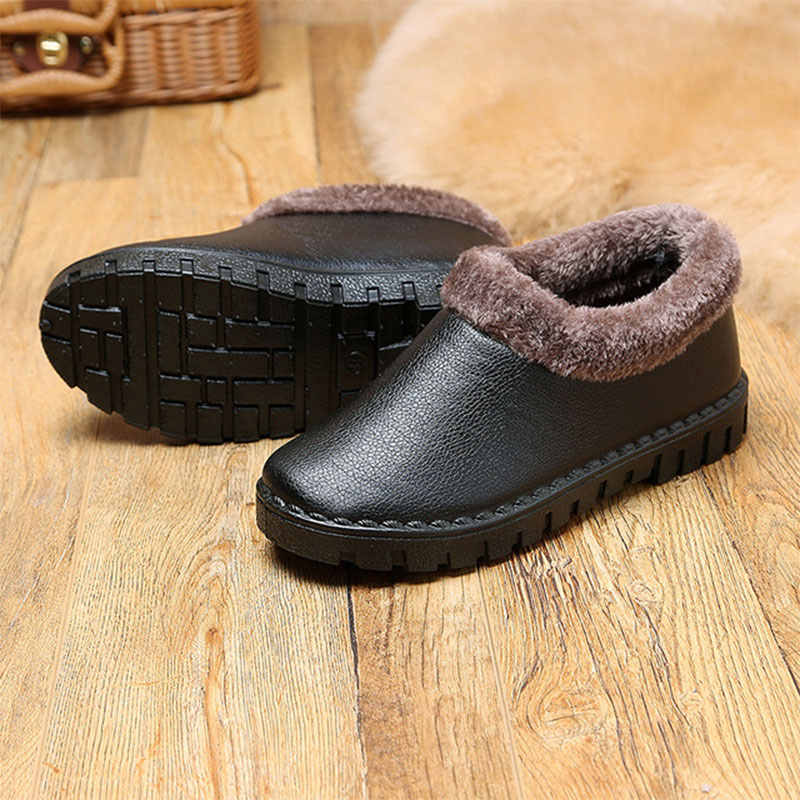 Kadın klasik sıcak kış yarım çizmeler kadın yumuşak PU deri çizmeler kadın konfor kısa kürklü peluş bayanlar platformu kadın ayakkabısı